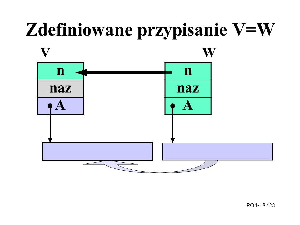 Zdefiniowane przypisanie V=W n naz A n A VW PO4-18 / 28