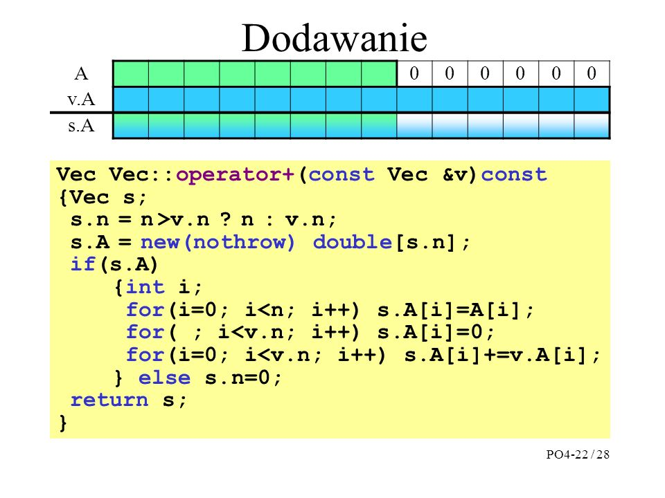 Dodawanie Vec Vec::operator+(const Vec &v)const {Vec s; s.n = n >v.n ? n : v.n; s.A = new(nothrow) double[s.n]; if(s.A) {int i; for(i=0; i<n; i++) s.A