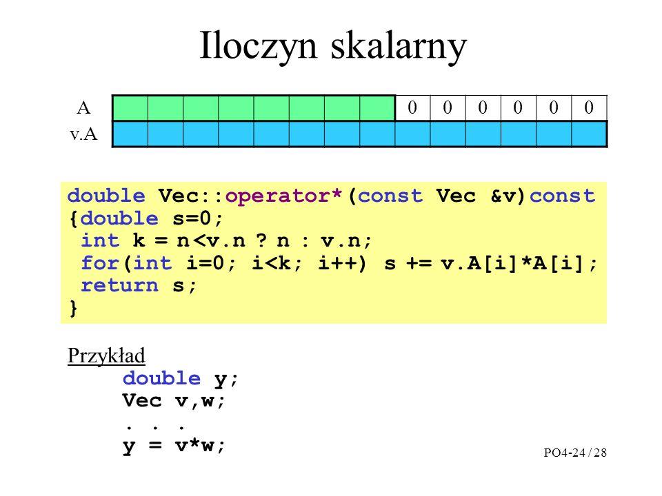 Iloczyn skalarny A000000 v.A double Vec::operator*(const Vec &v)const {double s=0; int k = n <v.n .
