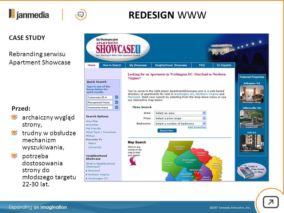 CASE STUDY Rebranding serwisu Apartment Showcase Przed: archaiczny wygląd strony, trudny w obsłudze mechanizm wyszukiwania, potrzeba dostosowania strony do młodszego targetu 22-30 lat.