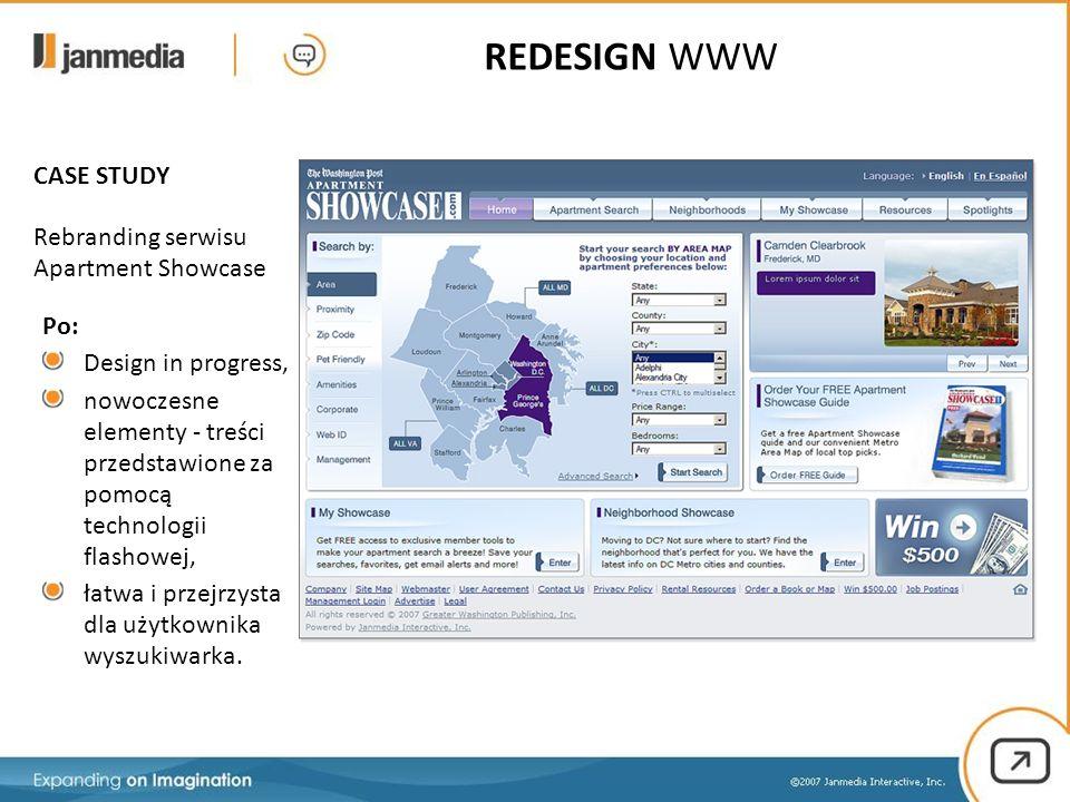 Po: Design in progress, nowoczesne elementy - treści przedstawione za pomocą technologii flashowej, łatwa i przejrzysta dla użytkownika wyszukiwarka.