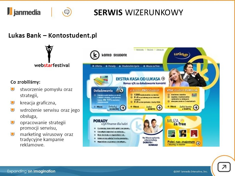 Co zrobiliśmy: stworzenie pomysłu oraz strategii, kreacja graficzna, wdrożenie serwisu oraz jego obsługa, opracowanie strategii promocji serwisu, marketing wirusowy oraz tradycyjne kampanie reklamowe.