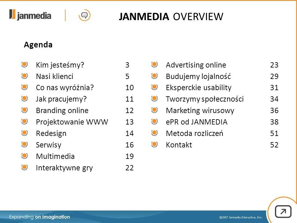 JANMEDIA OVERVIEW Kim jesteśmy? 3 Nasi klienci5 Co nas wyróżnia?10 Jak pracujemy?11 Branding online12 Projektowanie WWW13 Redesign14 Serwisy16 Multime