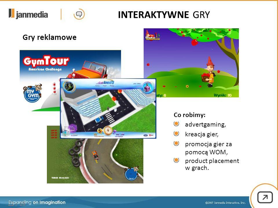 Gry reklamowe 22 / 15 Co robimy: advertgaming, kreacja gier, promocja gier za pomocą WOM, product placement w grach. INTERAKTYWNE GRY