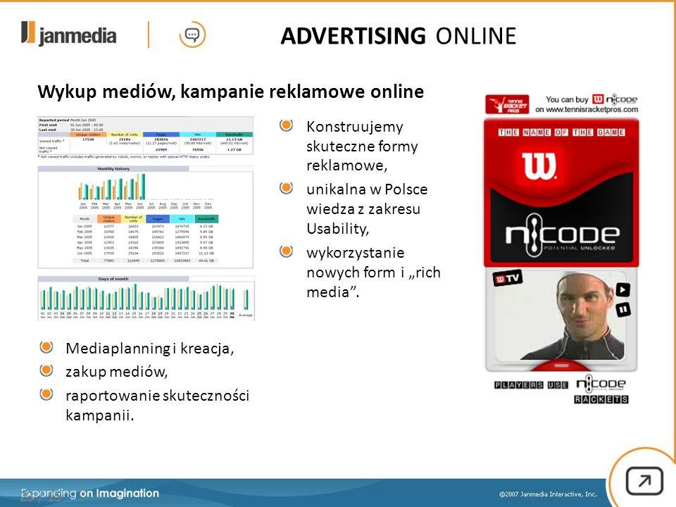 Wykup mediów, kampanie reklamowe online 23 / 15 Konstruujemy skuteczne formy reklamowe, unikalna w Polsce wiedza z zakresu Usability, wykorzystanie no