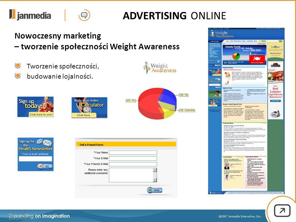 26 / 15 ADVERTISING ONLINE Nowoczesny marketing – tworzenie społeczności Weight Awareness Tworzenie społeczności, budowanie lojalności.