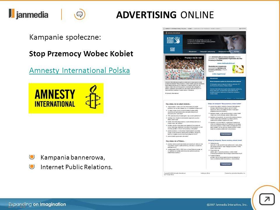 27 / 15 ADVERTISING ONLINE Kampanie społeczne: Stop Przemocy Wobec Kobiet Amnesty International Polska Kampania bannerowa, Internet Public Relations.
