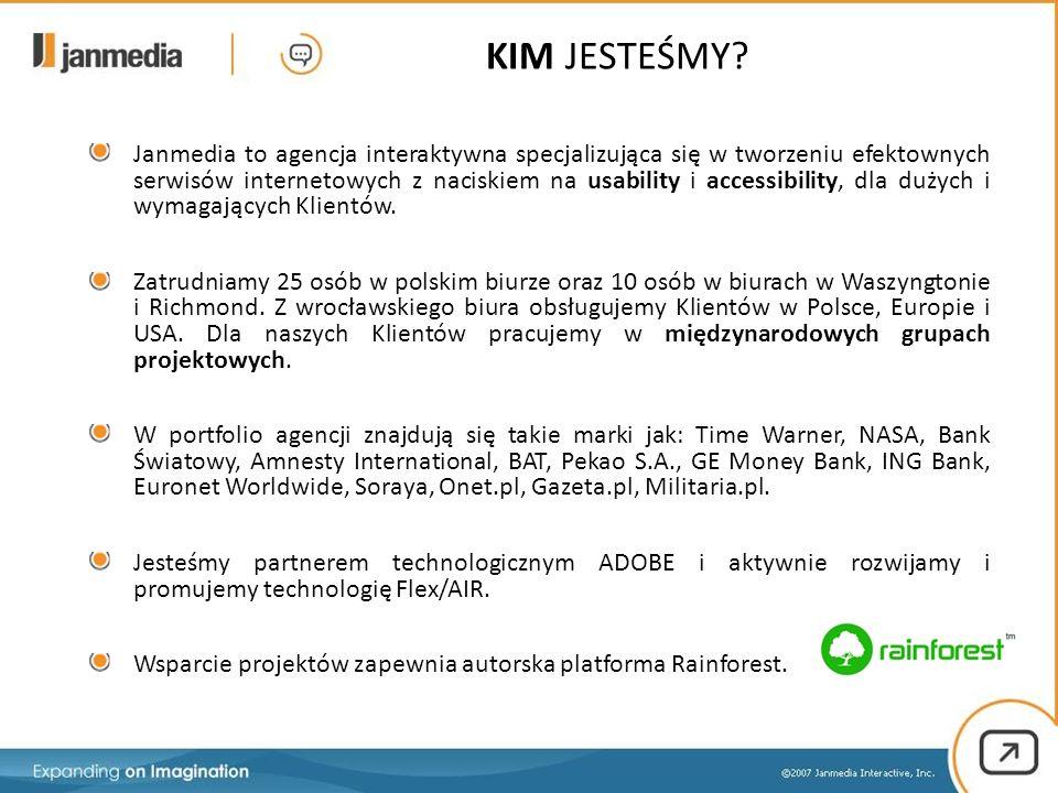Janmedia to agencja interaktywna specjalizująca się w tworzeniu efektownych serwisów internetowych z naciskiem na usability i accessibility, dla dużyc