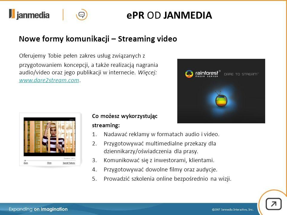 Nowe formy komunikacji – Streaming video Oferujemy Tobie pełen zakres usług związanych z przygotowaniem koncepcji, a także realizacją nagrania audio/video oraz jego publikacji w internecie.