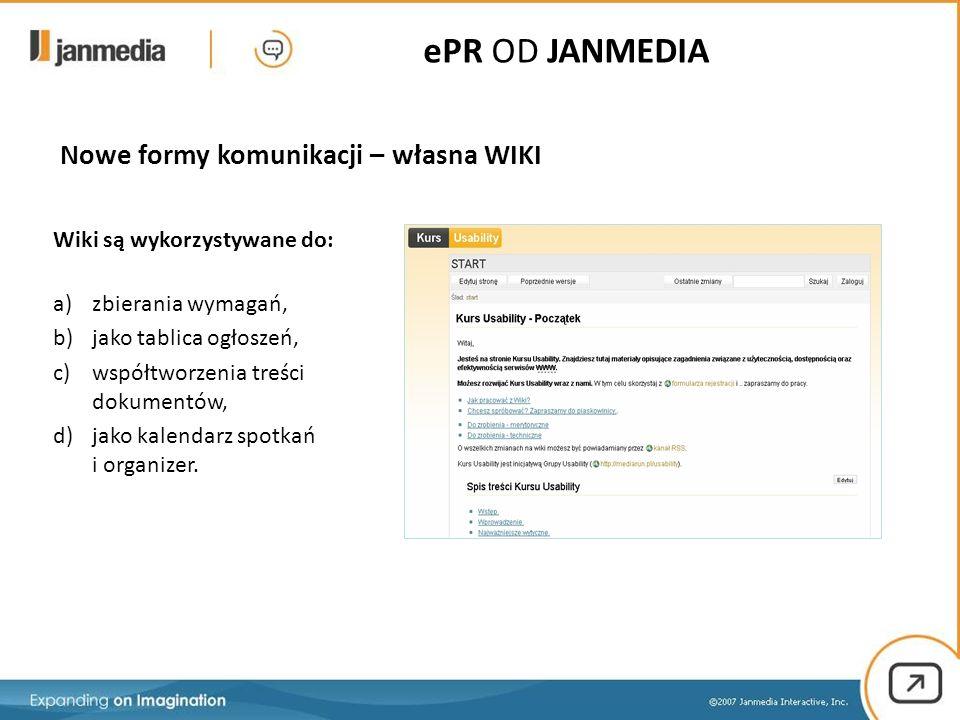 Nowe formy komunikacji – własna WIKI Wiki są wykorzystywane do: a)zbierania wymagań, b)jako tablica ogłoszeń, c)współtworzenia treści dokumentów, d)jako kalendarz spotkań i organizer.