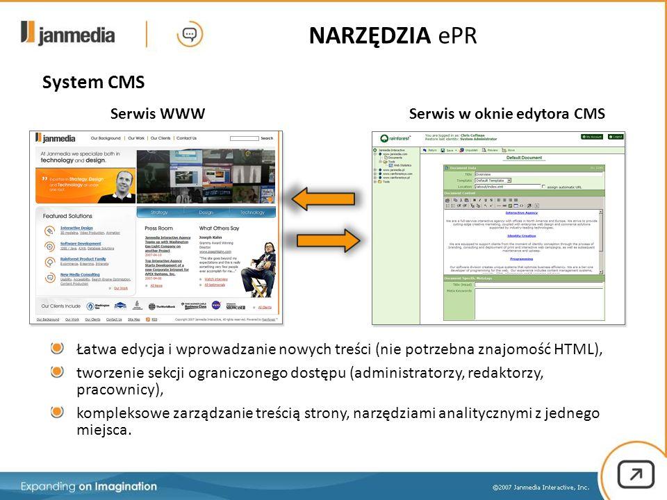 System CMS Serwis w oknie edytora CMSSerwis WWW Łatwa edycja i wprowadzanie nowych treści (nie potrzebna znajomość HTML), tworzenie sekcji ograniczonego dostępu (administratorzy, redaktorzy, pracownicy), kompleksowe zarządzanie treścią strony, narzędziami analitycznymi z jednego miejsca.