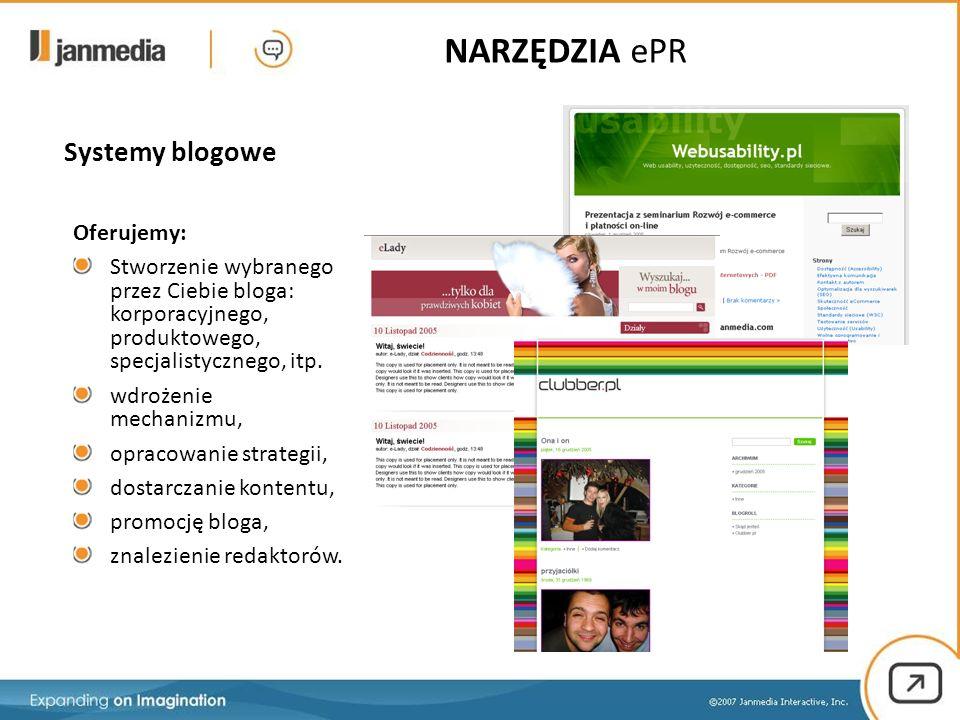 Systemy blogowe NARZĘDZIA ePR Oferujemy: Stworzenie wybranego przez Ciebie bloga: korporacyjnego, produktowego, specjalistycznego, itp. wdrożenie mech