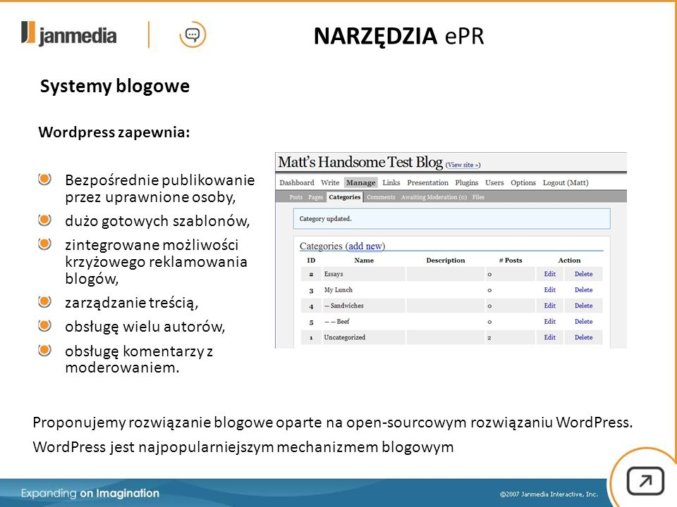 Systemy blogowe Proponujemy rozwiązanie blogowe oparte na open-sourcowym rozwiązaniu WordPress. WordPress jest najpopularniejszym mechanizmem blogowym