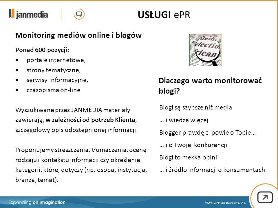 Monitoring mediów online i blogów Blogi są szybsze niż media … i wiedzą więcej Blogger prawdę ci powie o Tobie… … i o Twojej konkurencji Blogi to mekka opinii … i źródło informacji o konsumentach Dlaczego warto monitorować blogi.