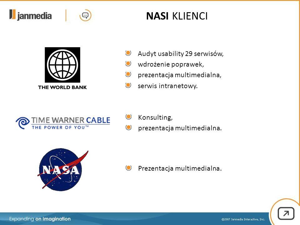 Audyt usability 29 serwisów, wdrożenie poprawek, prezentacja multimedialna, serwis intranetowy. Konsulting, prezentacja multimedialna. Prezentacja mul