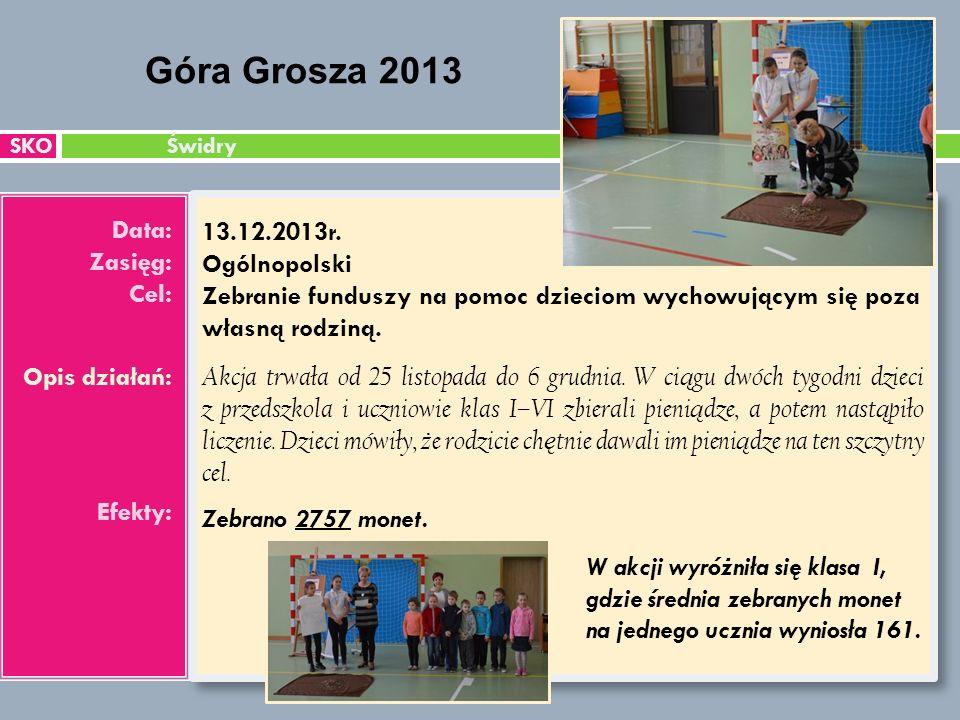 SKO Świdry Data: Zasięg: Cel: Opis działań: Efekty: 13.12.2013r.