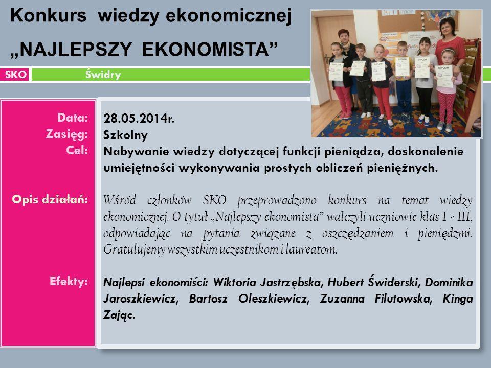 SKO Świdry Data: Zasięg: Cel: Opis działań: Efekty: 28.05.2014r.