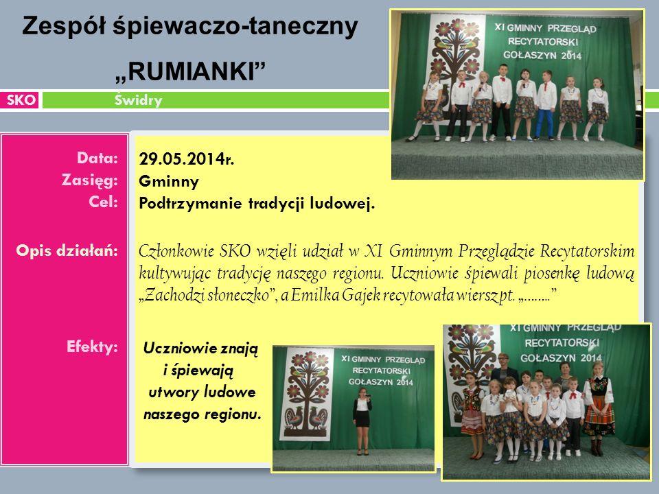 SKO Świdry Data: Zasięg: Cel: Opis działań: Efekty: 29.05.2014r.