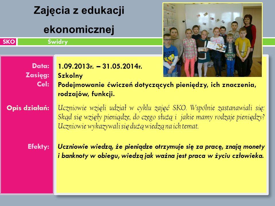 SKO Świdry Data: Zasięg: Cel: Opis działań: Efekty: 1.09.2013r.