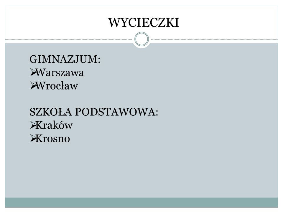 WYCIECZKI GIMNAZJUM:  Warszawa  Wrocław SZKOŁA PODSTAWOWA:  Kraków  Krosno
