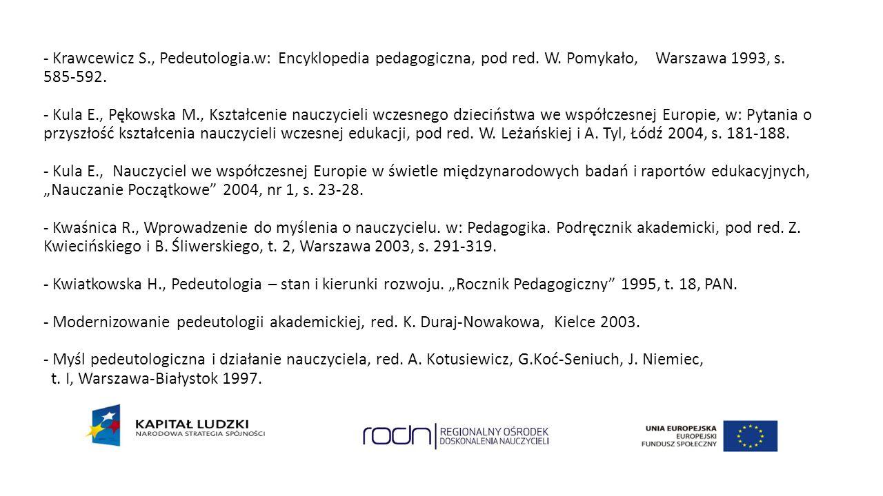- Krawcewicz S., Pedeutologia.w: Encyklopedia pedagogiczna, pod red.