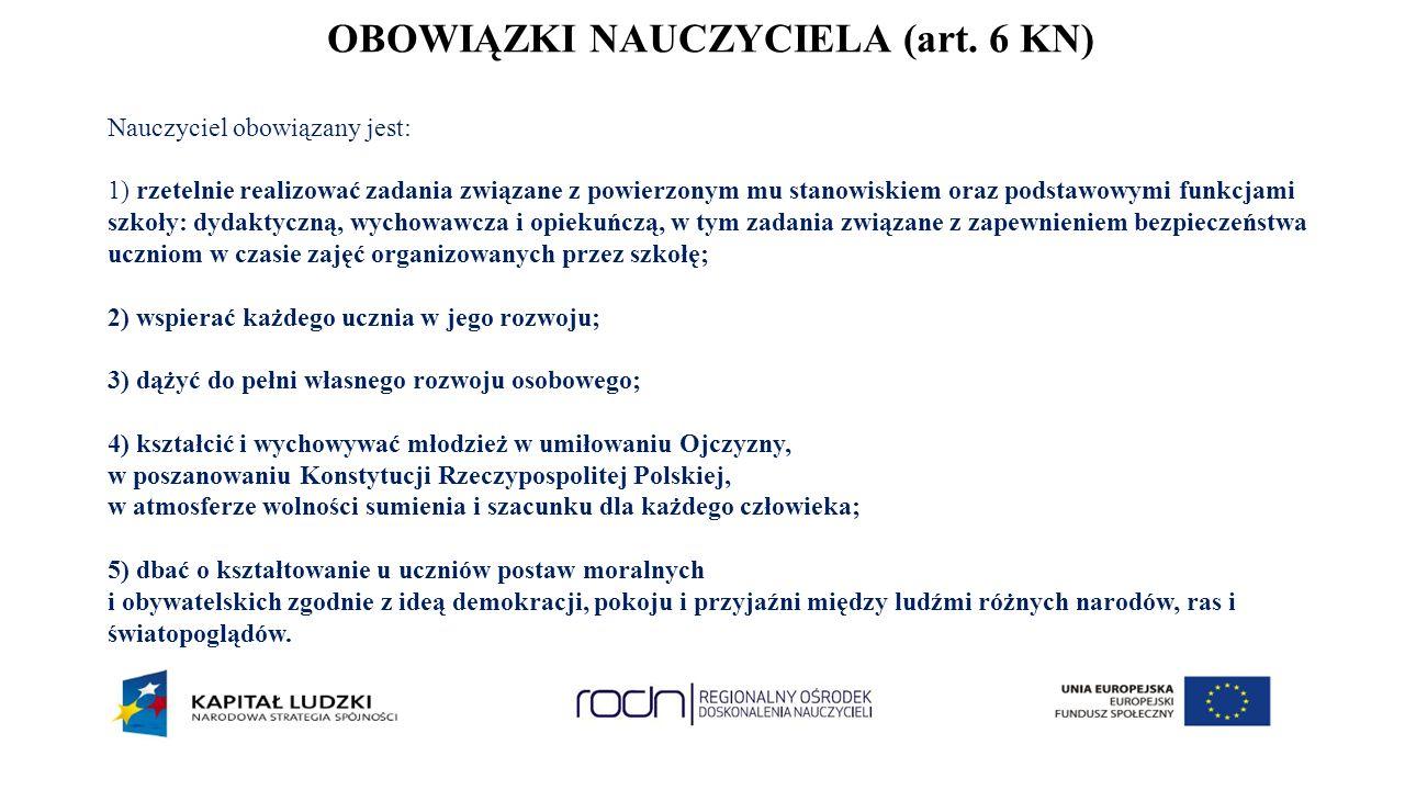 OBOWIĄZKI NAUCZYCIELA (art.