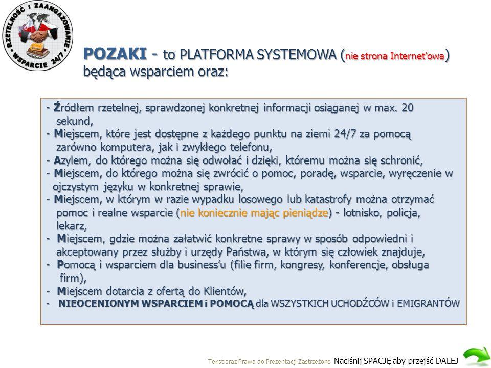 POZAKI - to PLATFORMA SYSTEMOWA ( nie strona Internet'owa ) będąca wsparciem oraz: - Źródłem rzetelnej, sprawdzonej konkretnej informacji osiąganej w max.