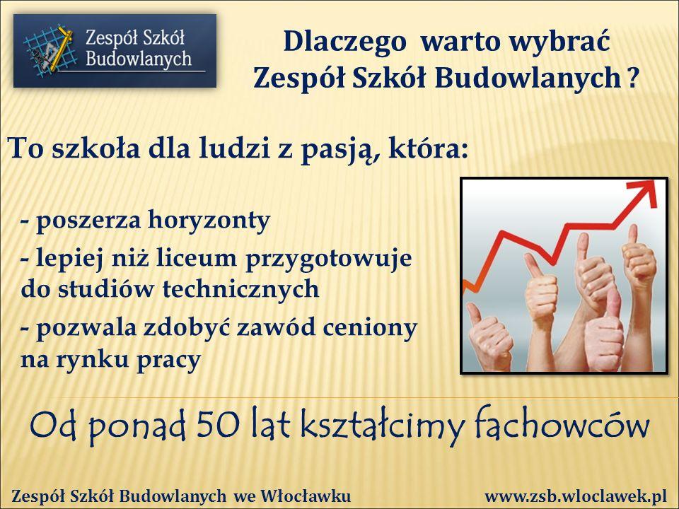 Od ponad 50 lat kształcimy fachowców Zespół Szkół Budowlanych we Włocławku www.zsb.wloclawek.pl BOISZ SIĘ MATEMATYKI, FIZYKI, itd.