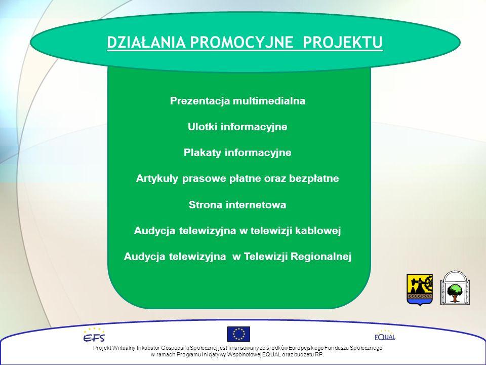 DZIAŁANIA PROMOCYJNE PROJEKTU Prezentacja multimedialna Ulotki informacyjne Plakaty informacyjne Artykuły prasowe płatne oraz bezpłatne Strona internetowa Audycja telewizyjna w telewizji kablowej Audycja telewizyjna w Telewizji Regionalnej Projekt Wirtualny Inkubator Gospodarki Społecznej jest finansowany ze środków Europejskiego Funduszu Społecznego w ramach Programu Inicjatywy Wspólnotowej EQUAL oraz budżetu RP.
