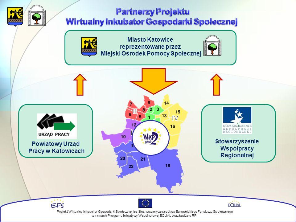 Miasto Katowice reprezentowane przez Miejski Ośrodek Pomocy Społecznej Powiatowy Urząd Pracy w Katowicach Stowarzyszenie Współpracy Regionalnej Projekt Wirtualny Inkubator Gospodarki Społecznej jest finansowany ze środków Europejskiego Funduszu Społecznego w ramach Programu Inicjatywy Wspólnotowej EQUAL oraz budżetu RP.