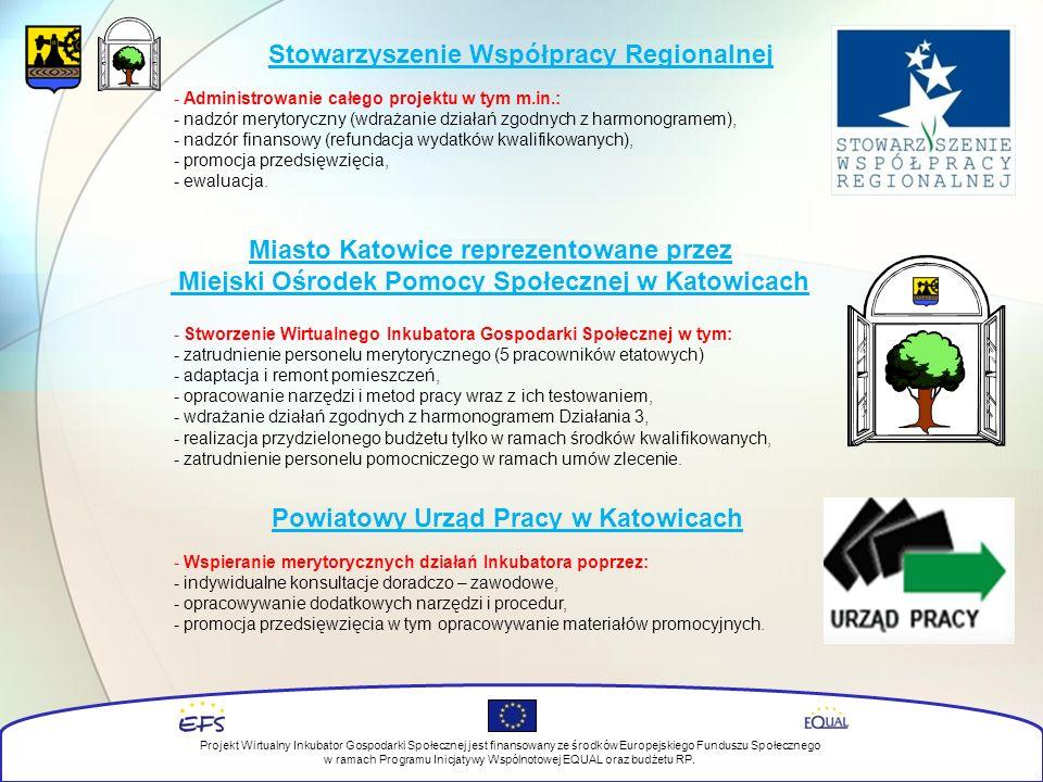Stowarzyszenie Współpracy Regionalnej Projekt Wirtualny Inkubator Gospodarki Społecznej jest finansowany ze środków Europejskiego Funduszu Społecznego w ramach Programu Inicjatywy Wspólnotowej EQUAL oraz budżetu RP.