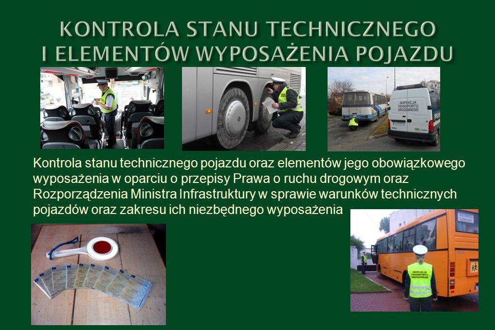 Kontrola stanu technicznego pojazdu oraz elementów jego obowiązkowego wyposażenia w oparciu o przepisy Prawa o ruchu drogowym oraz Rozporządzenia Ministra Infrastruktury w sprawie warunków technicznych pojazdów oraz zakresu ich niezbędnego wyposażenia