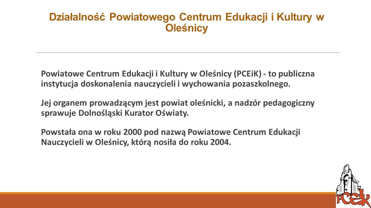 Działalność Powiatowego Centrum Edukacji i Kultury w Oleśnicy Powiatowe Centrum Edukacji i Kultury w Oleśnicy (PCEiK) - to publiczna instytucja doskon