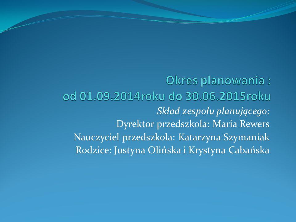 Skład zespołu planującego: Dyrektor przedszkola: Maria Rewers Nauczyciel przedszkola: Katarzyna Szymaniak Rodzice: Justyna Olińska i Krystyna Cabańska