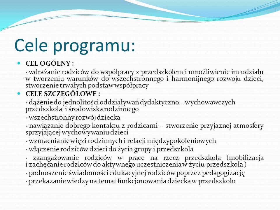Cele programu: CEL OGÓLNY : · wdrażanie rodziców do współpracy z przedszkolem i umożliwienie im udziału w tworzeniu warunków do wszechstronnego i harmonijnego rozwoju dzieci, stworzenie trwałych podstaw współpracy CELE SZCZEGÓŁOWE : · dążenie do jednolitości oddziaływań dydaktyczno – wychowawczych przedszkola i środowiska rodzinnego · wszechstronny rozwój dziecka · nawiązanie dobrego kontaktu z rodzicami – stworzenie przyjaznej atmosfery sprzyjającej wychowywaniu dzieci · wzmacnianie więzi rodzinnych i relacji międzypokoleniowych · włączenie rodziców dzieci do życia grupy i przedszkola · zaangażowanie rodziców w prace na rzecz przedszkola (mobilizacja i zachęcanie rodziców do aktywnego uczestniczenia w życiu przedszkola ) · podnoszenie świadomości edukacyjnej rodziców poprzez pedagogizację · przekazanie wiedzy na temat funkcjonowania dziecka w przedszkolu
