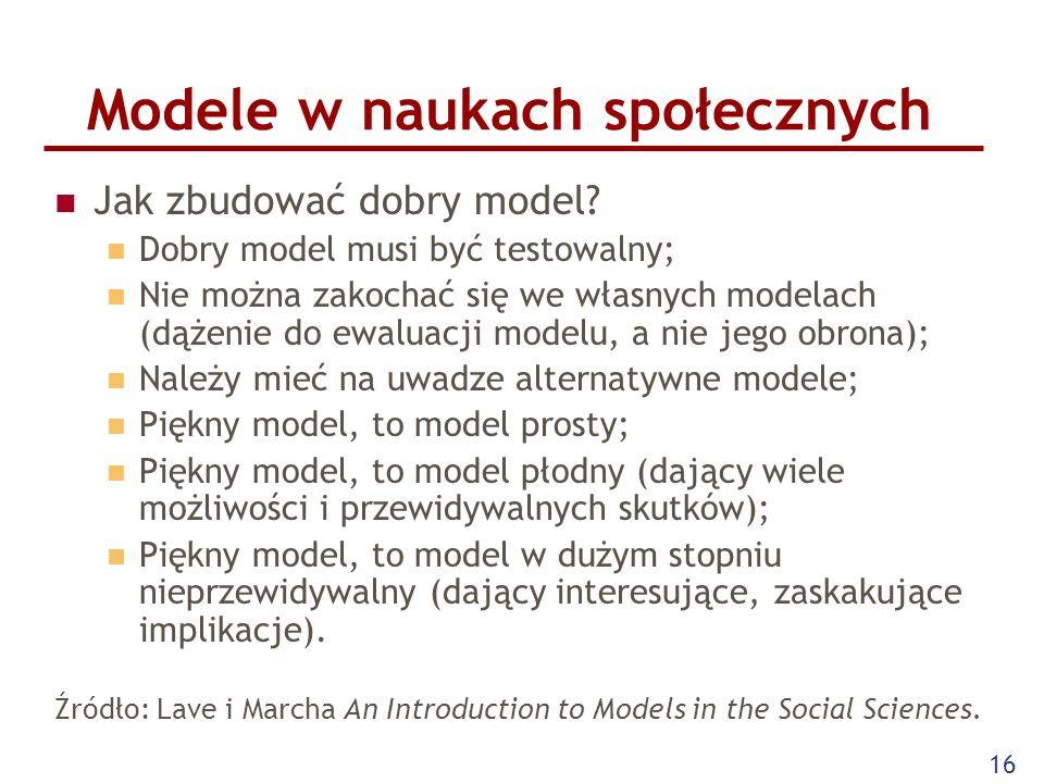 16 Modele w naukach społecznych Jak zbudować dobry model.