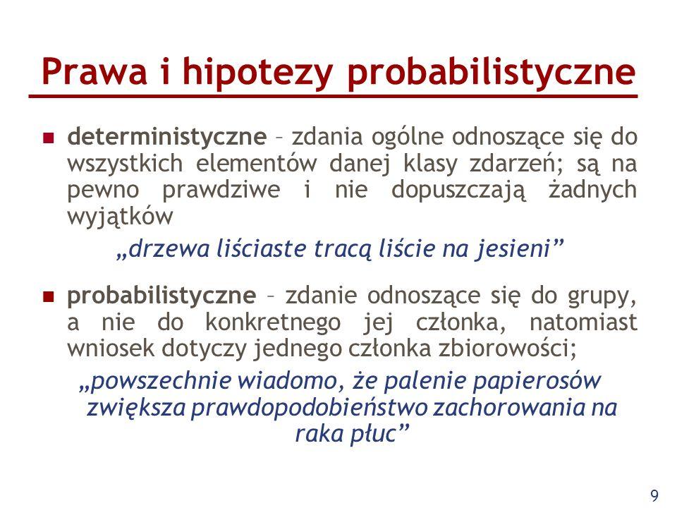 """9 Prawa i hipotezy probabilistyczne deterministyczne – zdania ogólne odnoszące się do wszystkich elementów danej klasy zdarzeń; są na pewno prawdziwe i nie dopuszczają żadnych wyjątków """"drzewa liściaste tracą liście na jesieni probabilistyczne – zdanie odnoszące się do grupy, a nie do konkretnego jej członka, natomiast wniosek dotyczy jednego członka zbiorowości; """"powszechnie wiadomo, że palenie papierosów zwiększa prawdopodobieństwo zachorowania na raka płuc"""