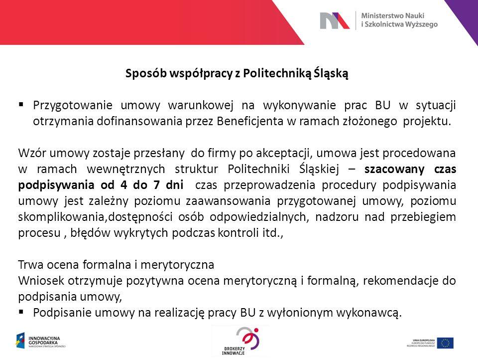 Sposób współpracy z Politechniką Śląską  Przygotowanie umowy warunkowej na wykonywanie prac BU w sytuacji otrzymania dofinansowania przez Beneficjent