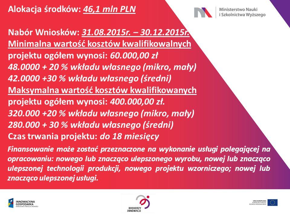 Alokacja środków: 46,1 mln PLN Nabór Wniosków: 31.08.2015r. – 30.12.2015r. Minimalna wartość kosztów kwalifikowalnych projektu ogółem wynosi: 60.000,0