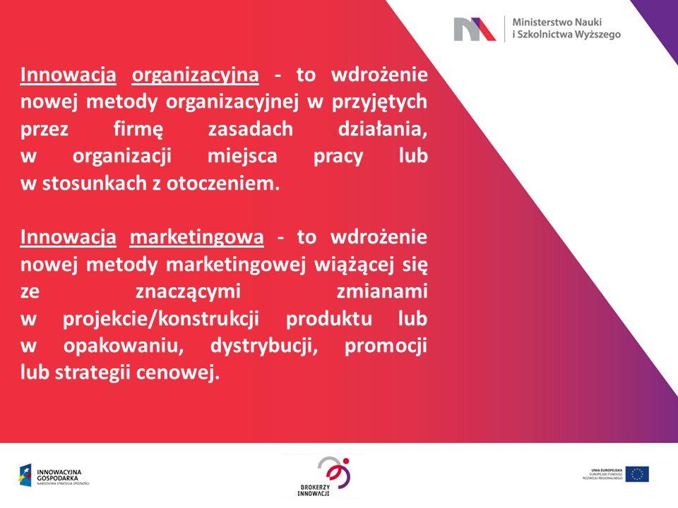 Innowacja organizacyjna - to wdrożenie nowej metody organizacyjnej w przyjętych przez firmę zasadach działania, w organizacji miejsca pracy lub w stos