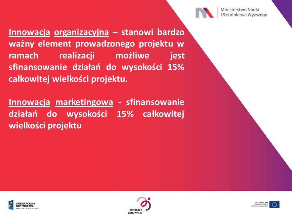 Innowacja organizacyjna – stanowi bardzo ważny element prowadzonego projektu w ramach realizacji możliwe jest sfinansowanie działań do wysokości 15% c