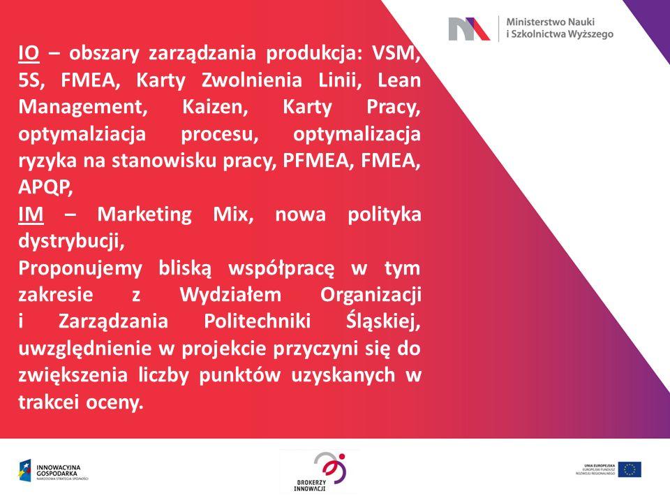 IO – obszary zarządzania produkcja: VSM, 5S, FMEA, Karty Zwolnienia Linii, Lean Management, Kaizen, Karty Pracy, optymalziacja procesu, optymalizacja
