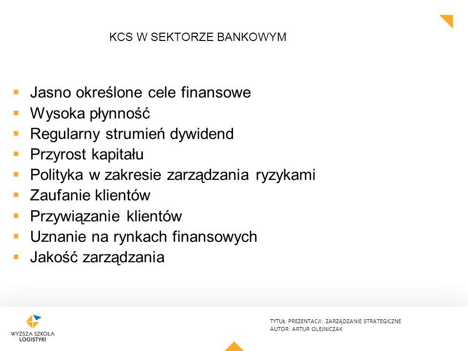 TYTUŁ PREZENTACJI: ZARZĄDZANIE STRATEGICZNE AUTOR: ARTUR OLEJNICZAK KCS W SEKTORZE BANKOWYM  Jasno określone cele finansowe  Wysoka płynność  Regularny strumień dywidend  Przyrost kapitału  Polityka w zakresie zarządzania ryzykami  Zaufanie klientów  Przywiązanie klientów  Uznanie na rynkach finansowych  Jakość zarządzania