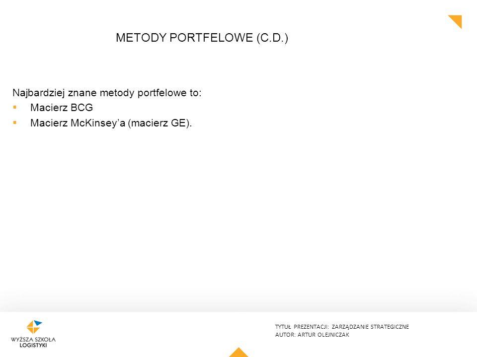 TYTUŁ PREZENTACJI: ZARZĄDZANIE STRATEGICZNE AUTOR: ARTUR OLEJNICZAK METODY PORTFELOWE (C.D.) Najbardziej znane metody portfelowe to:  Macierz BCG  Macierz McKinsey'a (macierz GE).