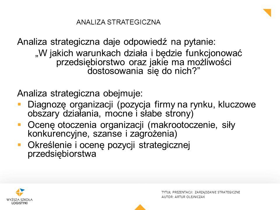 """TYTUŁ PREZENTACJI: ZARZĄDZANIE STRATEGICZNE AUTOR: ARTUR OLEJNICZAK ANALIZA STRATEGICZNA Analiza strategiczna daje odpowiedź na pytanie: """"W jakich warunkach działa i będzie funkcjonować przedsiębiorstwo oraz jakie ma możliwości dostosowania się do nich? Analiza strategiczna obejmuje:  Diagnozę organizacji (pozycja firmy na rynku, kluczowe obszary działania, mocne i słabe strony)  Ocenę otoczenia organizacji (makrootoczenie, siły konkurencyjne, szanse i zagrożenia)  Określenie i ocenę pozycji strategicznej przedsiębiorstwa"""