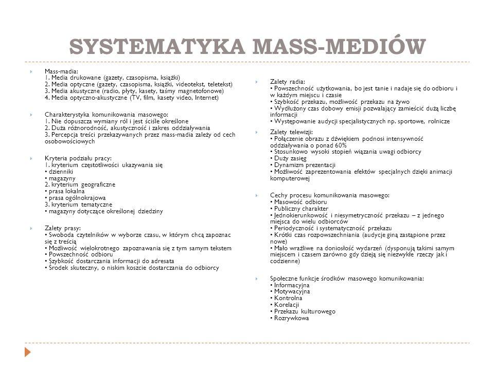 SYSTEMATYKA MASS-MEDIÓW  Mass-madia: 1. Media drukowane (gazety, czasopisma, książki) 2. Media optyczne (gazety, czasopisma, książki, videotekst, tel
