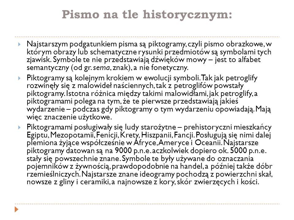 Pismo na tle historycznym:  Najstarszym podgatunkiem pisma są piktogramy, czyli pismo obrazkowe, w którym obrazy lub schematyczne rysunki przedmiotów