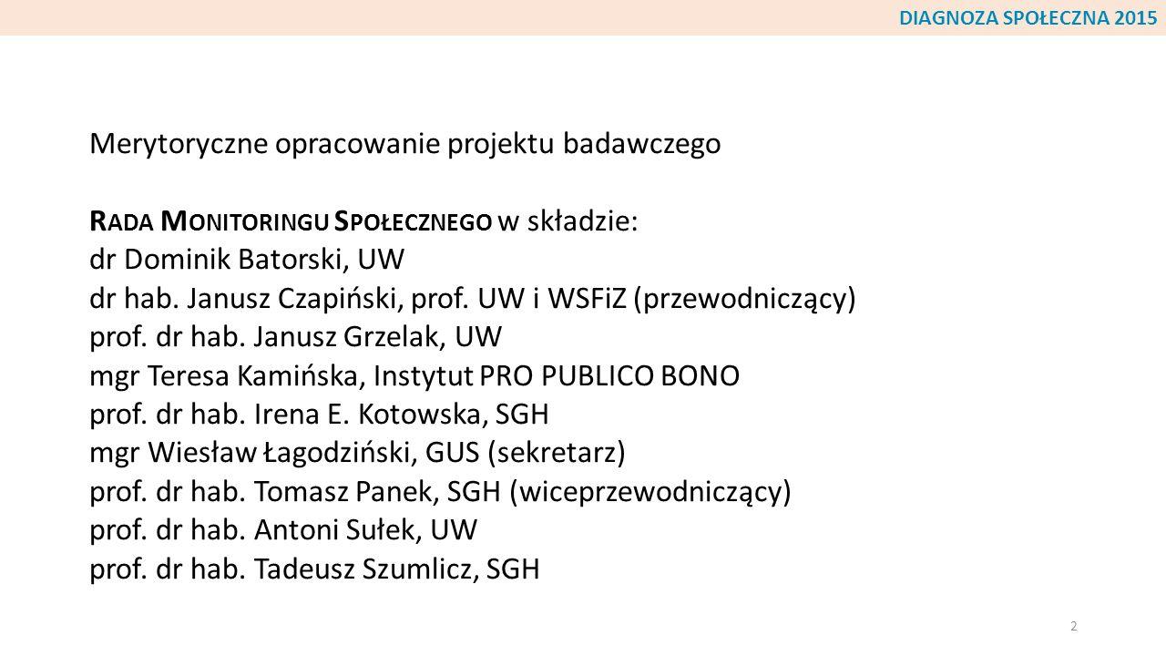 Merytoryczne opracowanie projektu badawczego R ADA M ONITORINGU S POŁECZNEGO w składzie: dr Dominik Batorski, UW dr hab. Janusz Czapiński, prof. UW i