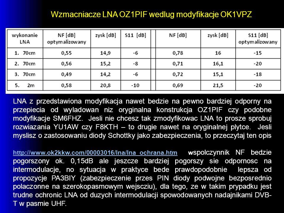Wzmacniacze LNA OZ1PIF wedlug modyfikacje OK1VPZ LNA z przedstawiona modyfikacja nawet bedzie na pewno bardziej odporny na przepiecia od wyladowan niz