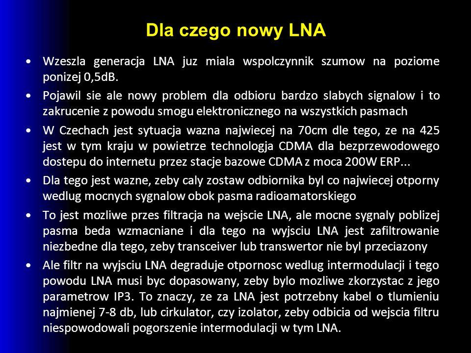 Dla czego nowy LNA Wzeszla generacja LNA juz miala wspolczynnik szumow na poziome ponizej 0,5dB. Pojawil sie ale nowy problem dla odbioru bardzo slaby